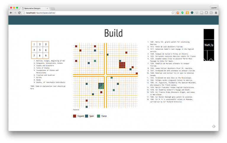 "Interactive ""build"" mode (in progress). Design by Caroline Foster. Implementation by Caroline Foster and Erica Pramer."